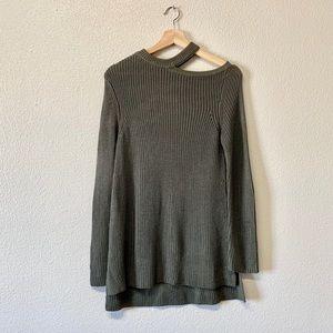 BB Dakota Olive Cut-Out Neckline Sweater